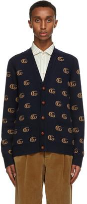 Gucci Navy Wool Jacquard Double G Cardigan