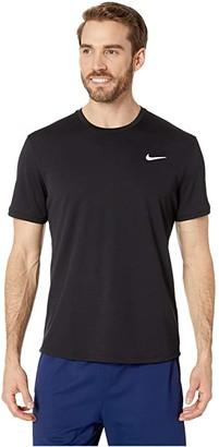 Nike NikeCourt Dri-FIT Short Sleeve Tennis Top (Black/Black/Black) Men's Clothing