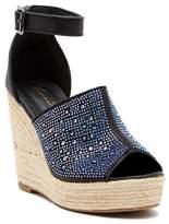 Lauren Lorraine Jillian Embellished Platform Wedge Espadrille Sandal