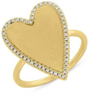 Ron Hami 14K Yellow Gold Pave Diamond Halo Heart Ring - 0.12 ctw - Size 7
