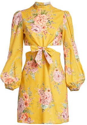 Zimmermann Zinnia Cutout Linen Mini Puff-Sleeve Dress