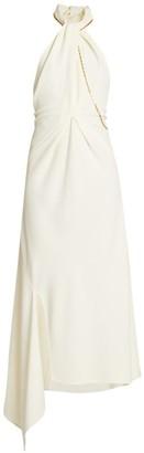 Victoria Beckham Halter Chain Asymmetric Midi Dress