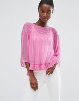 MANGO Loose Fit Top With Frill Hem