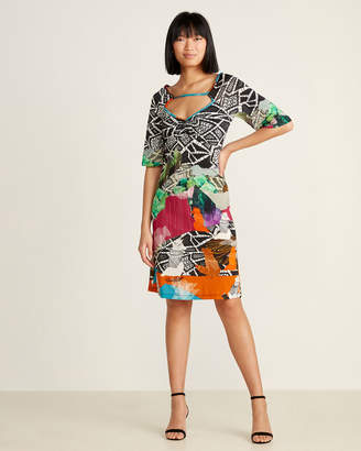 Save the Queen Abstract Dog Print Cutout Dress