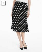 White House Black Market Petite Chevron Striped A-line Ponte Midi Skirt