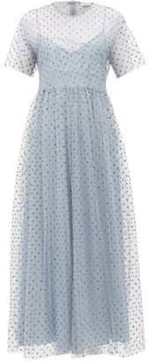 RED Valentino Glitter Polka-dot Tulle Midi Dress - Womens - Blue