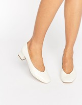 Carvela Antidote White Leather Mid Heeled Shoes