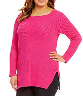 Vince Camuto Plus Long Sleeve Ribbed V-Textured Sweater