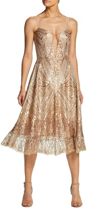 Dress the Population Leona Art Deco Sequin Fit & Flare Dress