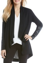 Karen Kane Faux Leather Patch Cardigan