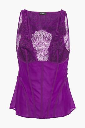 La Perla Lace-paneled Stretch-silk Crepe Pajama Top