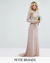 TFNC Petite Wedding Lace Maxi Dress With Bow Back