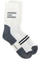 Satisfy graphic slogan socks