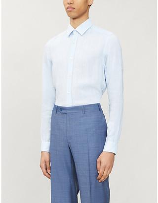 HUGO BOSS Slim-fit linen shirt