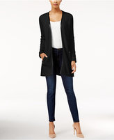 Charter Club Faux-Leather-Trim Cardigan, Only at Macy's