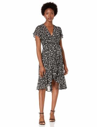 Calvin Klein Women's Petite Flutter Sleeve A-Line Dress with Surplice Neckline