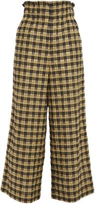 Ganni Cropped Checked Cotton-blend Seersucker Wide-leg Pants