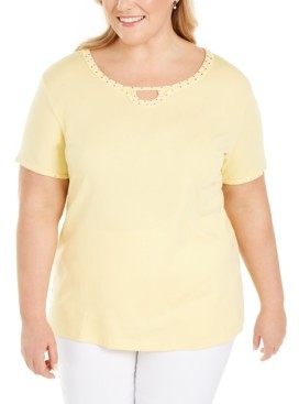 Karen Scott Plus Size Studded Keyhole Top, Created for Macy's