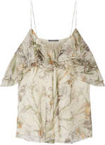Alexander McQueen Cold-shoulder Printed Silk-crepon Top - Ivory