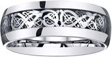 MODERN BRIDE Mens Comfort-Fit Filigree Ring in Stainless Steel