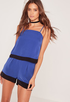 Missguided Color Block Hem Cami Top Blue