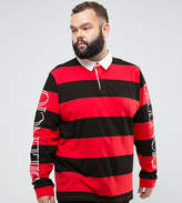 Asos PLUS Relaxed Long Sleeve Rugby Polo With Block Stripe & Sleeve Print