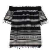 Lemlem Kal Off-the-shoulder Striped Cotton-blend Gauze Top - Black