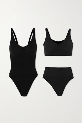 Skin The Solutions Kit Ribbed Organic Cotton-blend Bodysuit, Bra And Thong Set - Black
