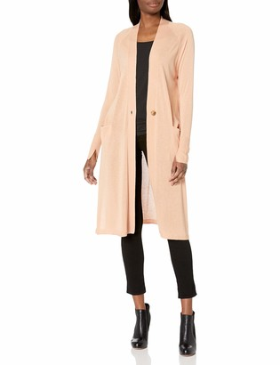 Halston Women's Long Sleeve Duster Cardigan with Side Slits