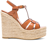Saint Laurent Leather Espadrille Wedges in Brown.