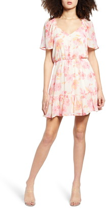 ALL IN FAVOR Floral Print Button Front Minidress