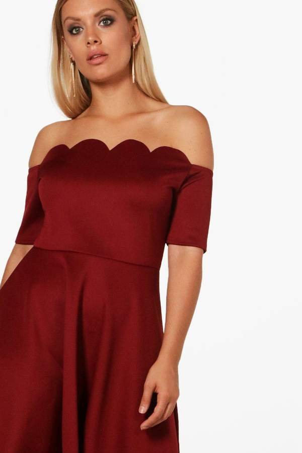 boohoo Plus Faye Scallop Off Shoulder Midi Skater Dress