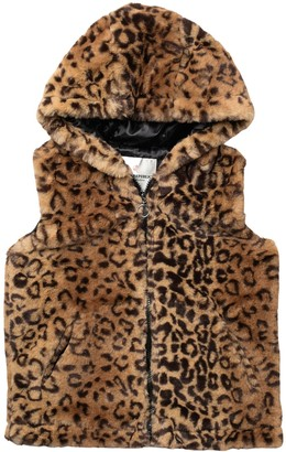 Urban Republic Leopard Faux Fur Hooded Vest (Big Girls)