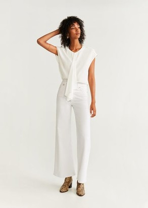 MANGO Draped detail blouse off white - 2 - Women