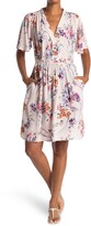 Thumbnail for your product : Love Stitch Floral Flutter Sleeve Wrap Dress