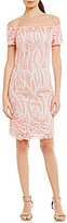 Adrianna Papell Off-The-Shoulder Embroidered Sheath Dress