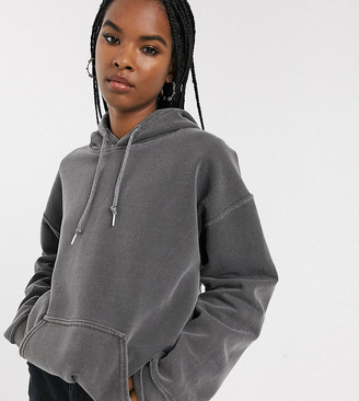 Reclaimed Vintage inspired overdye charcoal hoodie
