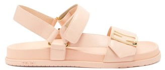 Fendi Promenade Velcro-strap Leather Sandals - Light Pink