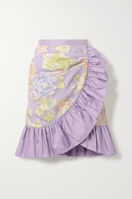 Rodarte Ruffled Silk-blend Floral-jacquard Mini Skirt - Lavender