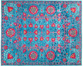 """Solo Rugs 8'1""""x9'9"""" Suzani Rug - Blue/Pink"""