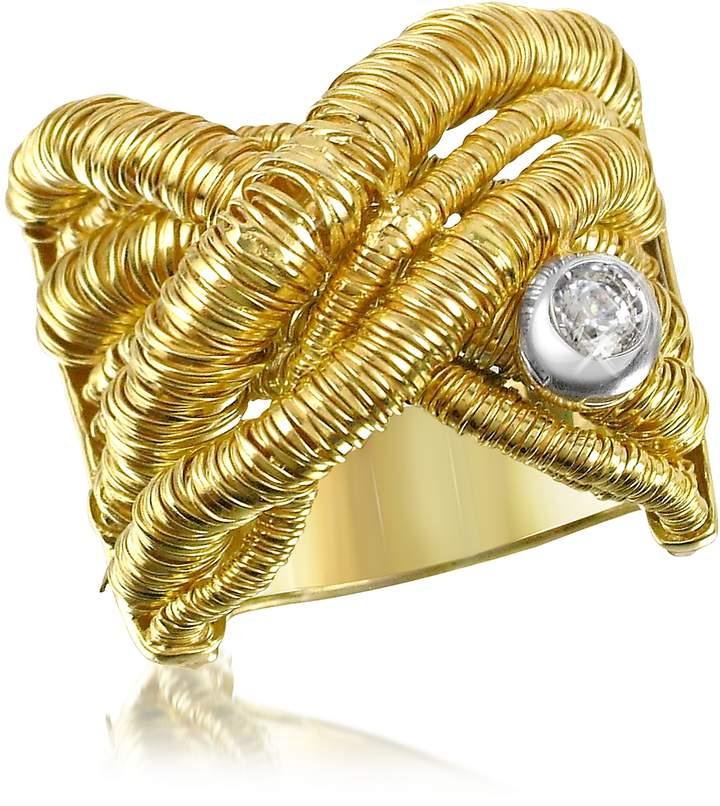Orlando Orlandini Capriccio - Diamond 18K Yellow Gold Crossover Ring