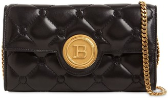 Balmain Pillow Quilted Leather Shoulder Bag