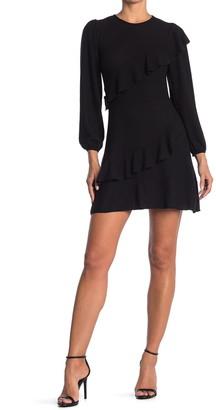 Velvet Torch Ruffled Sweater Mini Dress
