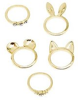 Charlotte Russe Animal Ears & Rhinestone Rings - 5 Pack