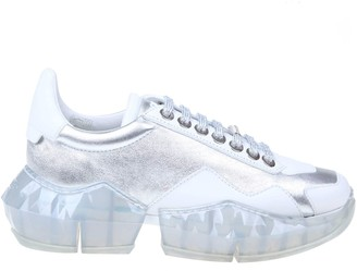 Jimmy Choo Diamond Sneakers In Silver Color Laminated Leather
