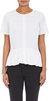 Barneys New York Women's Pleated Cotton Peplum Top-WHITE