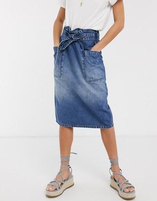 JDY denim midi skirt in blue