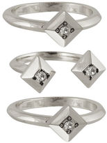 House Of Harlow 1960 The Lyra Silvertone Stackable Ring Set