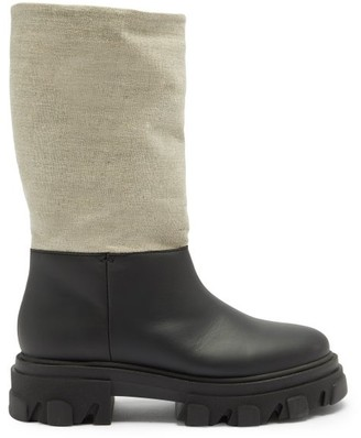 Ganni Leather And Linen Snow Boots - Black Cream