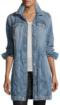 7 For All Mankind Long Trucker Denim Jacket, Light Brighton Blue